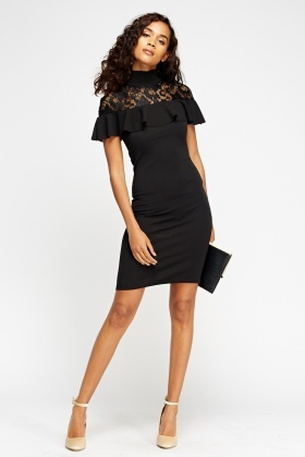 Black Lace Insert Frilled Dress