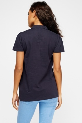 Button Neck Logo Top