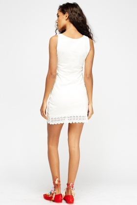Crochet Hem Off White Dress