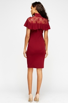 Lace Insert Frilled Bodycon Dress