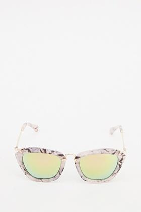 Printed Mirrored Wayfarer Sunglasses