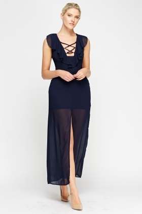 Flare Detail Indigo Maxi Dress