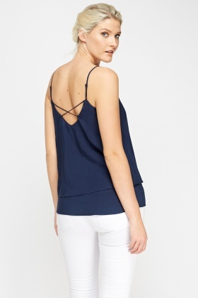 Navy Overlay Cami Top