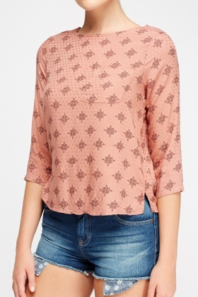 Printed Petite Dusty Pink Top