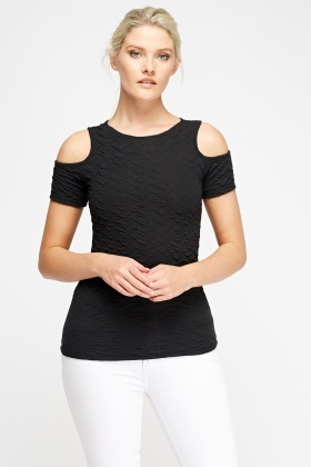 Ruched Cold Shoulder Top