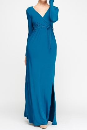 Wrapped Teal Maxi Dress