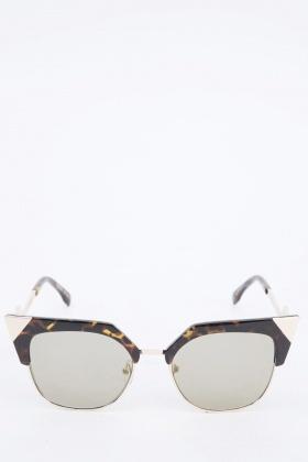 Brown Detailed Half Frame Sunglasses
