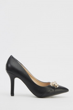 Encrusted Detail Court Heels