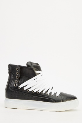 Faux Leather Black High Top Trainers