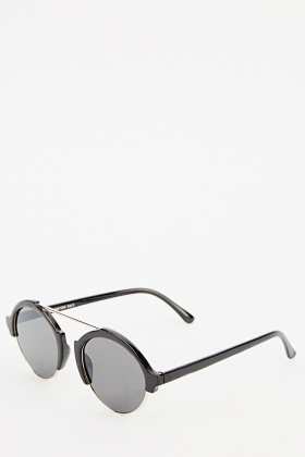 Browline Round Retro Sunglasses