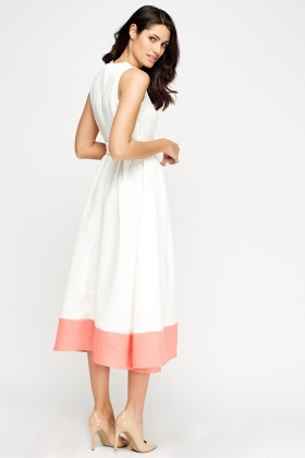 Colour Block Midi Skater Dress