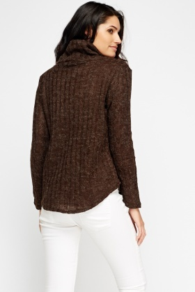Cowl Neck Speckled Knit Jumper