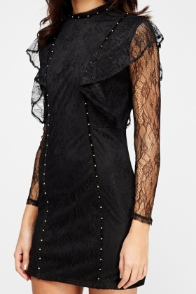 Lace Overlay Black Bodycon Dress