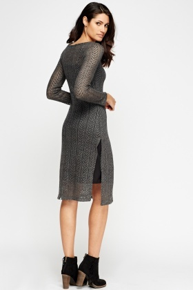 Long Knitted Slit Front Dress