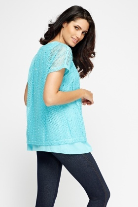 Mesh Overlay Sky Blue Top