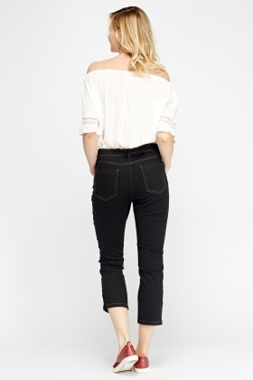 Black Denim Button Detailed Jeans