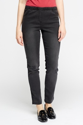 Charcoal Frayed Jeggings
