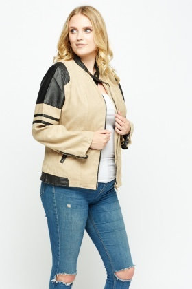 Faux Leather Contrast Biker Jacket