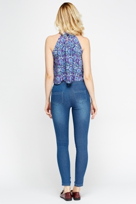 Frayed Leg Denim Blue Jeggings
