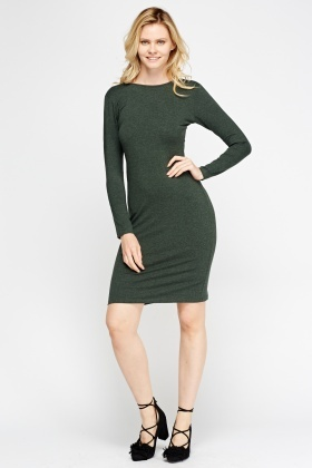 Green Detailed Back Dress