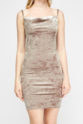 Scoop Neck Velveteen Dress