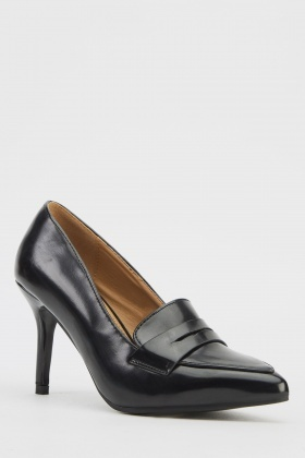 Faux Leather Court Heels