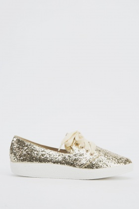Lace Up Glitter Shoes