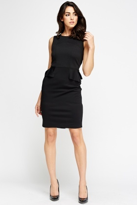 Black Peplum Midi Dress