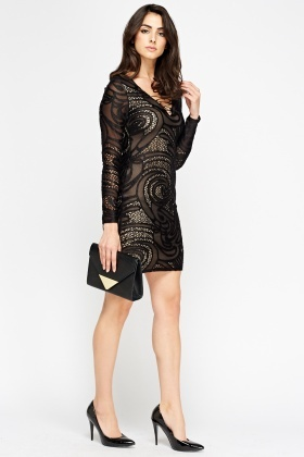 Mesh Overlay Mini Dress