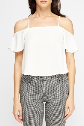 White Flare Cold Shoulder Cami Top