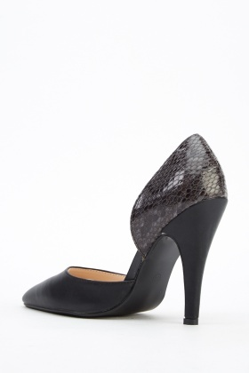 Contrast Court Black Heels