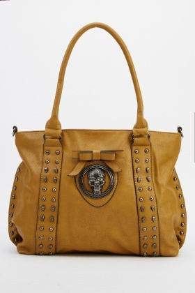 Skull Faux Leather Embellished Handbag
