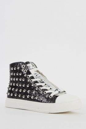 Studded Glitter High Top Trainers