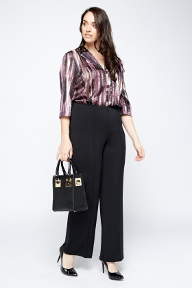 Black Elasticated Formal Trousers