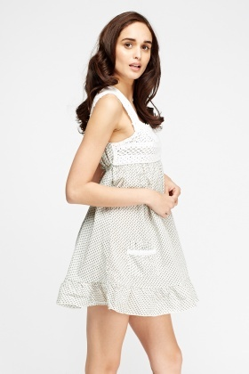 Crochet Insert Printed Mini Dress