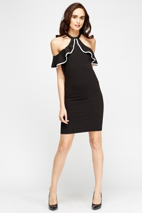 Frilled Cold Shoulder Bodycon Dress