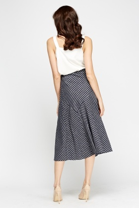 Navy Printed Midi Skirt