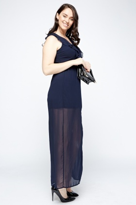Navy Sheer Maxi Dress