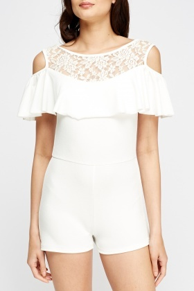 Off White Cold Shoulder Playsuit