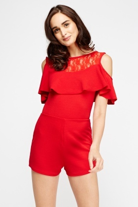 Red Cold Shoulder Playsuit