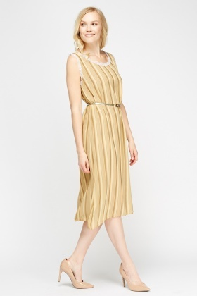 Beige Lace Trim Striped Dress