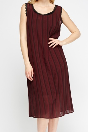 Contrast Lace Trim Striped Dress
