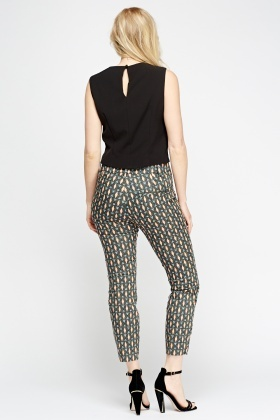 Coral Printed Cigarette Trousers