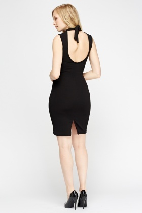 High Neck Cut Out Back Bodycon Dress