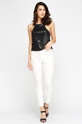 High Waist Cropped Skinny Jeans