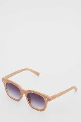 Mirrored Wood Effect Sunglasses