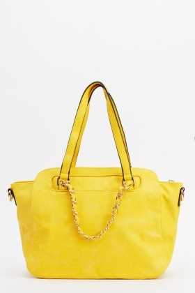 Chained Faux Leather Bag