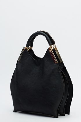 Detailed Handle Faux Leather Bag