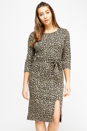 Leopard Print Tie Up Dress