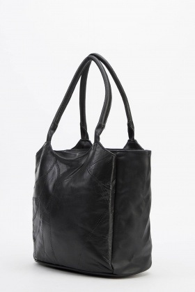 Stitched Faux Leather Handbag
